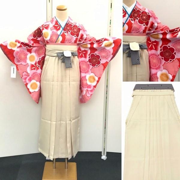 袴レンタル 紅一点 新品 ピンク赤の大輪の花着物とベージュ地袴 No.100-157