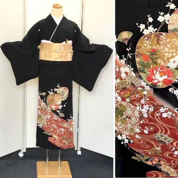 黒留袖 単衣6月・9月 牡丹刺繍No.600-11