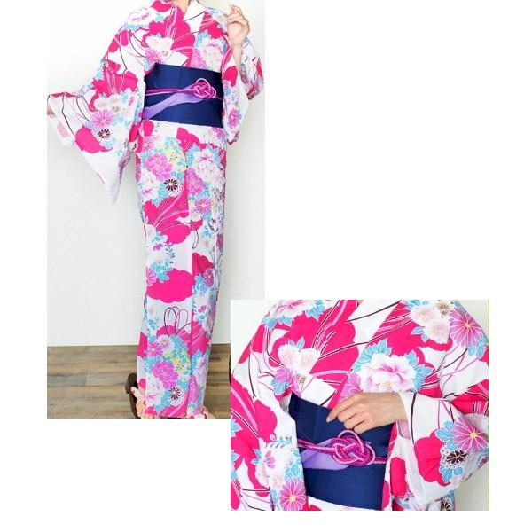 散策プラン|浴衣レンタル|No.004sansaku|ピンク地|華やか古典